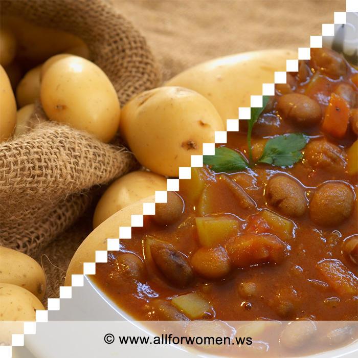 Картофель с фасолью и чили