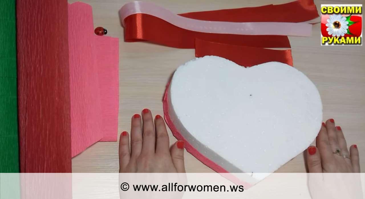 Сердце - букет из конфет пошагово - материалы