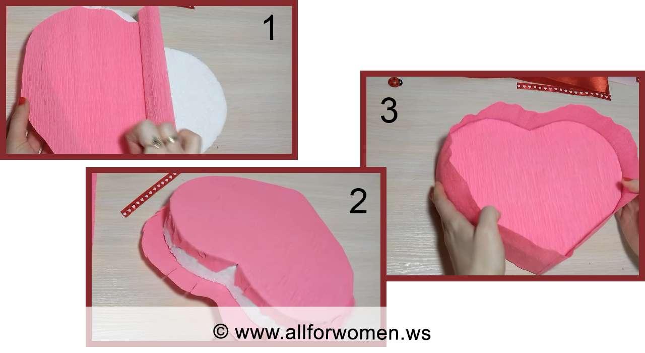 Сердце - букет из конфет пошагово - подготовка основы