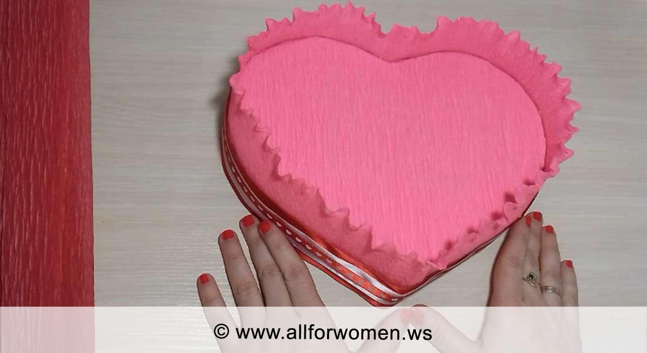 Сердце - букет из конфет пошагово - бортик