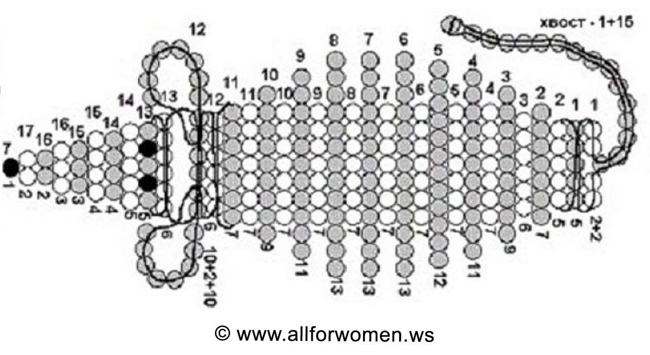 Урок плетения из бисера - мышонок - схема