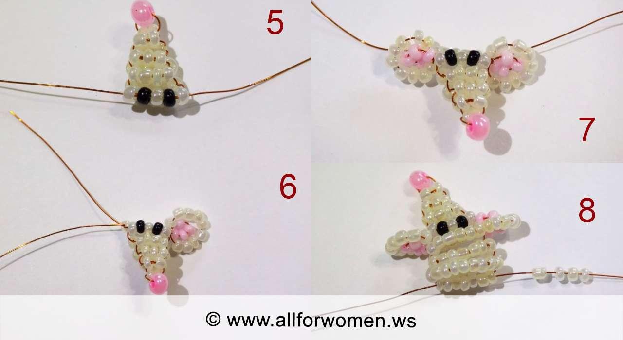 Урок плетения из бисера - мышонок - 5-8