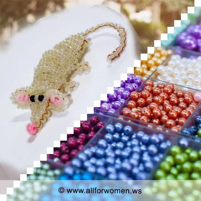 Урок плетения из бисера - мышонок